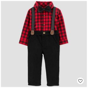 NWT Carter's Baby Buffalo Plaid Set with Bow Tie
